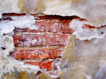 Vieux mur de briques détruit Photographie stock libre de droits
