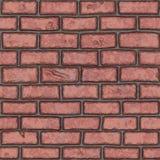 Vieux mur de briques rouge sans couture (peint à la main) Photos stock