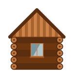 Vieux mur de maison d'architecture de domaine en bois de conception avec l'illustration plate de vecteur de vitrail Photo libre de droits