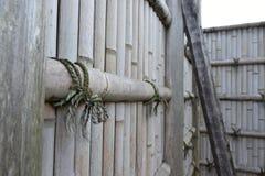 Vieux mur en bambou Photographie stock