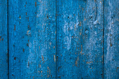 Vieux mur en bois peint bleu Photographie stock