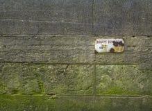 Vieux mur en pierre avec le moule vert et le signe Images stock