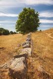 Vieux mur en pierre sur la colline photos stock