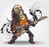 Vieux musicien de roche avec une guitare illustration de vecteur