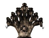 Vieux 7 naga Bouddha de têtes images stock