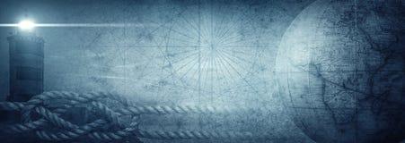 Vieux noeud de globe, de phare et de mer sur le fond abstrait de carte Fond grunge de pirate, d'explorateur, de voyage et de thèm illustration stock