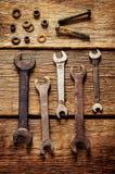 Vieux outils, clés Image stock