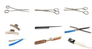 Vieux outils de coiffeur Photographie stock