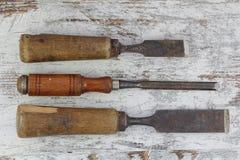 Vieux outils de coupe en bois Photographie stock