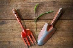 Vieux outils de jardinage rouillés grunges sales avec la fleur et la feuille d'herbe sur le fond en bois grunge sale Photos libres de droits
