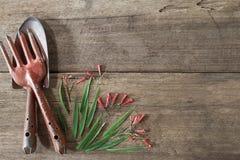 Vieux outils de jardinage rouillés grunges sales avec les fleurs et les feuilles mignonnes sur le fond en bois grunge sale Photographie stock