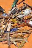 Vieux outils rouillés Image stock