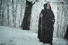 Vieux pèlerin dans la forêt glacée photo libre de droits
