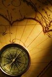 Vieux page et compas Photo stock
