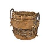 Vieux panier en osier Photo stock