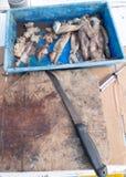 Vieux panneau d'amorce avec le couteau et de couper le calmar pour pêcher en tournée Photo libre de droits