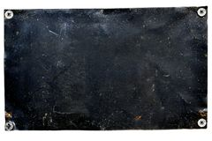 Vieux panneau métallique de porte peint avec la peinture noire photos libres de droits
