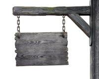 Vieux panneau routier en bois d'isolement sur le fond blanc Photographie stock