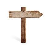 Vieux panneau routier en bois de flèche droite d'isolement Image libre de droits