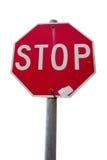 Vieux panneau routier rouge d'arrêt Images stock