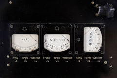 Vieux panneau sur un matériel de l'électronique Photo stock