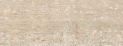 Vieux panorama de mur de briques de lavage blanc Image stock