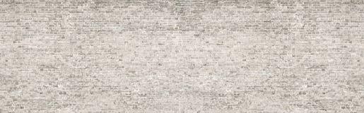 Vieux panorama de mur de briques de lavage blanc images libres de droits