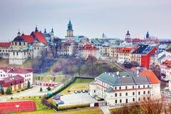 Vieux panorama de ville de Lublin, Pologne Images libres de droits
