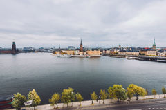 Vieux panorama de ville de Stockholm Photographie stock libre de droits