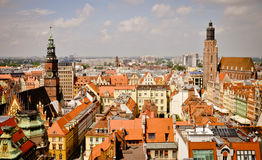 Vieux panorama de ville de Wroclaw Photo libre de droits