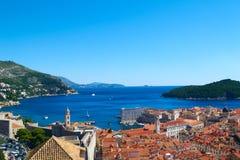 Vieux panorama de ville de Dubrovnik, Croatie images stock