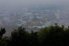 Vieux panorama de vintage de ville de Lviv Lviv, Ukraine Photographie stock