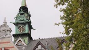 Vieux panorama de Zurich de chapelle banque de vidéos