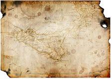 Vieux papier avec la carte de trésor Photos libres de droits