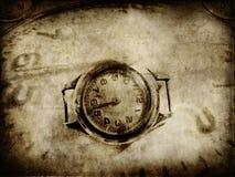 Vieux papier avec la texture d'horloge Photographie stock