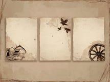 Vieux papier avec le croquis Photos libres de droits