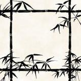 Vieux papier avec les branchements en bambou Images stock