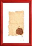 Vieux papier avec un sceau de cire Photos stock