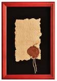 Vieux papier avec un sceau de cire Photographie stock libre de droits