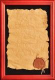 Vieux papier avec un sceau de cire Photo libre de droits