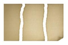 Vieux papier déchiré dans trois parties Photo stock