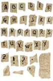vieux papier d'alphabet Photo libre de droits
