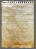 Vieux papier de cahier Photographie stock libre de droits