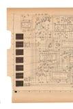 Vieux papier de plan électrique Images stock