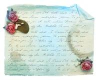 Vieux papier et fleurs. Image libre de droits