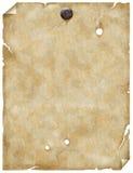 Vieux papier ou parchemin avec le clou Photos stock