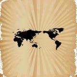 Vieux papier sur la carte du monde Photographie stock