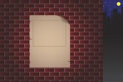 Vieux papier sur le vecteur de mur de briques illustration stock