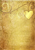 Vieux papier yellow-brown de valentine Image stock