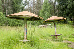 Vieux parasols en bois parmi l'herbe grande Photo stock